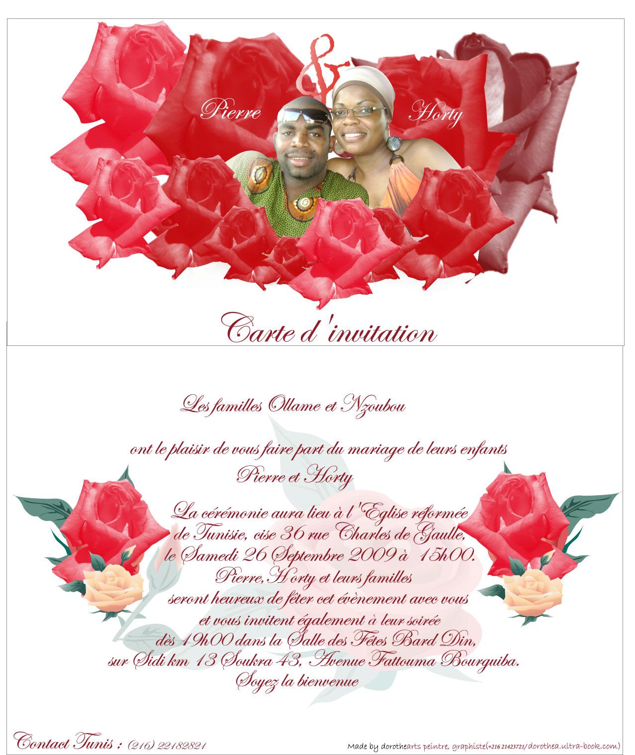 Image pour carte d'invitation de mariage