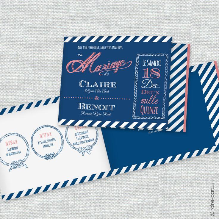 Bien connu Faire part mariage bleu marine - La boutique de Maud RE99