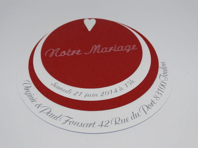 Super Faire part mariage theme rouge et blanc - La boutique de Maud PG65
