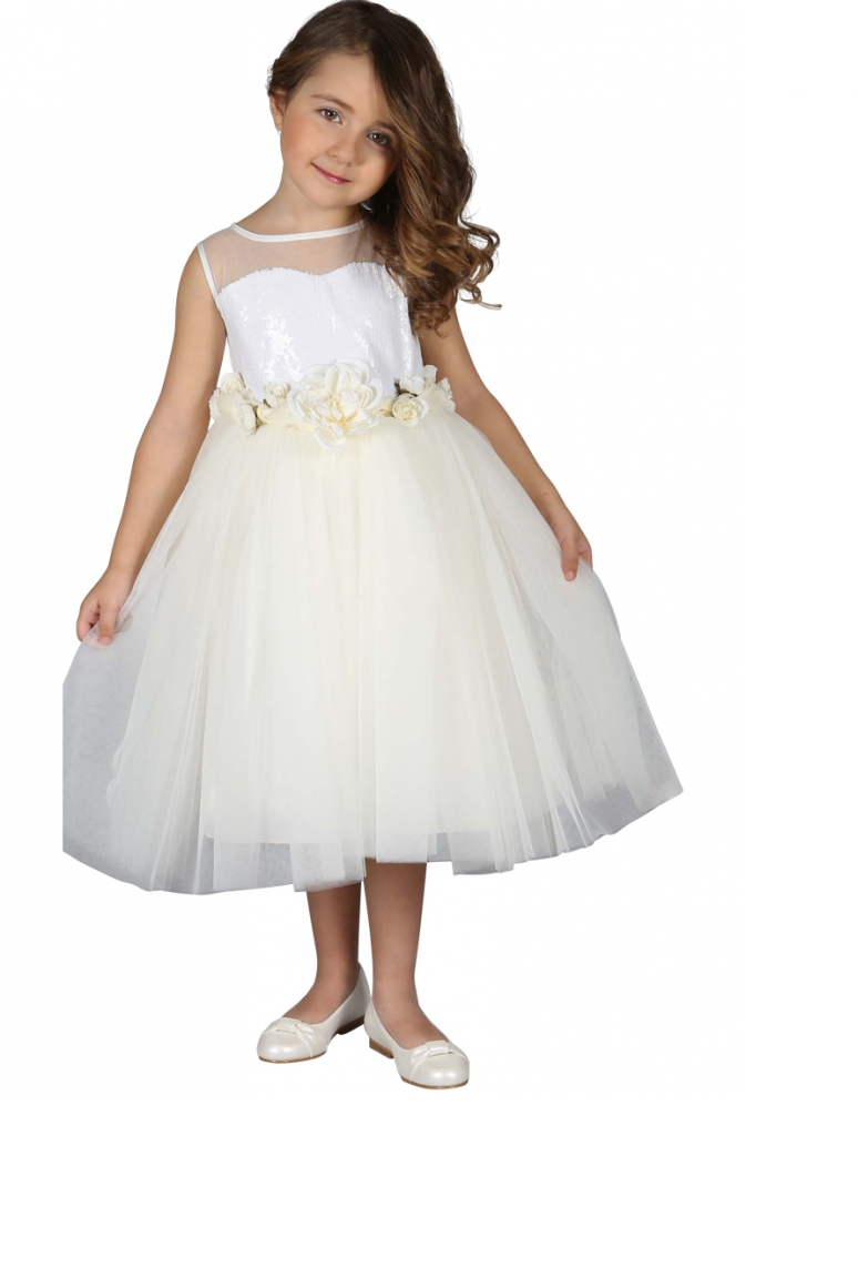 Robe de ceremonie fille ecru